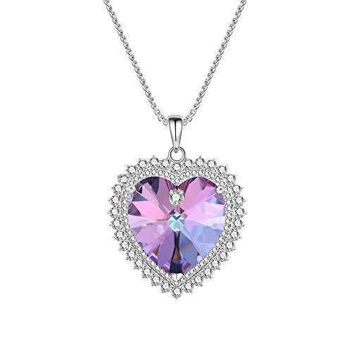 XUPING Jewelry Romantic Love Necklace Purple Crystals from Swarovski Heart of Ocean Pendant Women Thanksgiving (Crystal Vitrail Light)