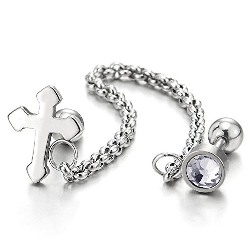 (1pc Mens Womens Steel Double Stud Cross Chain Circle Earring with Cubic Zirconia, Screw Back)