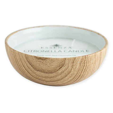 Essenza 17 oz. Citronella Candle in Ceramic Wood Bowl