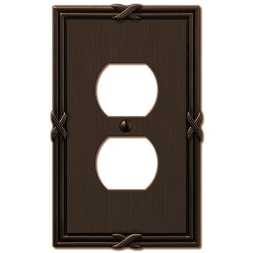 Amerelle 44DVB Ribbon and Reed 1 Duplex Wallplate, Aged Bronze