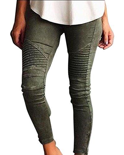 Up Denim Crayon Collants Leggings Pantalons Vert Haute Skinny Jeans Pantalon Taille Push Femme xq8wazZq