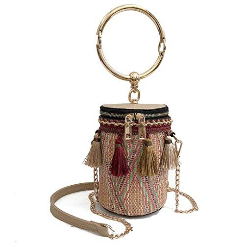 Hecho Barril Style Metal Bag Forma Bag Cylindrical Beige De Bolso con Bolso RED Interior De Mano Bucket Handle Bandolera Straw Crossbody A con cPXPFpq