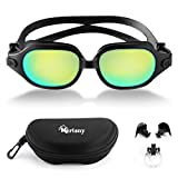 Merisny Swimming Goggles for Adult, Anti-fog Swim Goggles No Leaking Professional UV Protection Swimming Goggles with Case for Men Women Kids(Black)