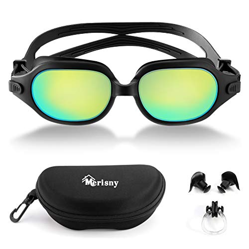 Merisny Swim Goggles, Anti-Fog Swimming Goggles No Leaking UV Protection Lenses Professional Swim Goggles with Free Case for Adult Men Women(Black)