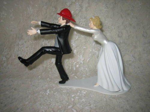 Wedding Reception party Run Away Groom Fireman Firefighter Cake Topper]()