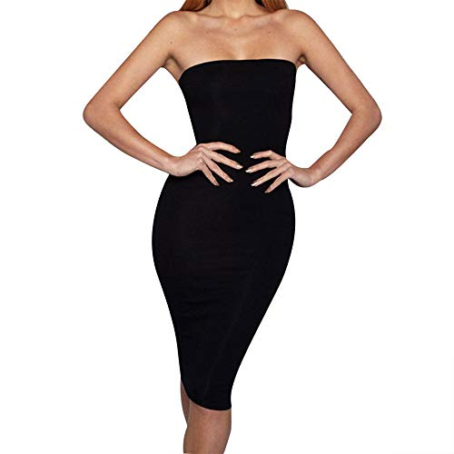 (Botrong Off Shoulder Dresses for Women, Sexy Bodycon Strapless Sleeveless Sheath Dress Black)