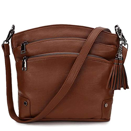 Crossbody Bag for Women,Triple Pockets Faux Leather Handbag Fashion Tassel Purse with 2 Removable Straps VONXURY (Best Faux Leather Handbags)