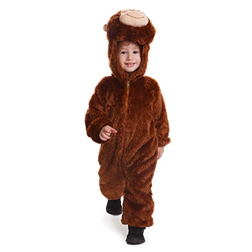Cuddly Monkey Toddler Costumes (Dress Up America Toddler and Kids Plush Monkey Costume Cuddle Monkey Jumpsuit)