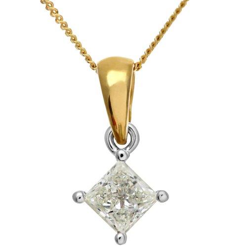 Revoni Bague en or jaune 18carats Solitaire diamant collier pendentif