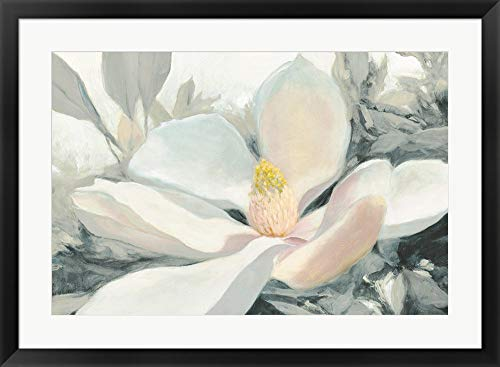 Majestic Magnolia Green Gray Crop by Julia Purinton Framed Art Print Wall Picture, Black Frame, 34 x 25 inches