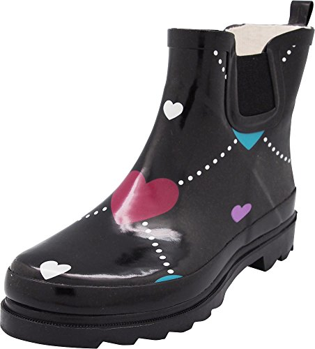 Boot Winter NORTY Rain Ladies Waterproof Spring Garden Heart Ankle Boots Argyle Black Womens nnqwpOYzZ