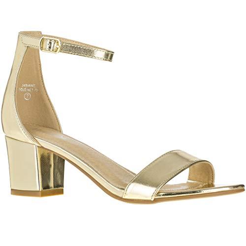 Women's Fashion Ankle Strap Kitten Heel Sandals - Adorable Cute Low Block Heel - Jasmine (9 M US, Gold PU)
