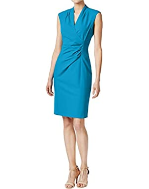 Calvin Klein Womens Faux Wrap Gathered Wear to Work Dress