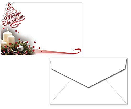 - Merry Christmas Candle Wreath Enclosure Cards with Envelopes - 40 Sets - Unique Die Cut Foil Design - Small Cards for Gifts or Flowers