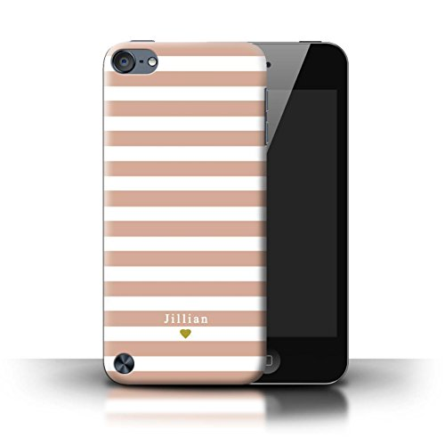 (Personalized Custom Stripes/Striped Case for Apple iPod Touch 5 / Nude Pink Heart Design / Initial/Name/Text DIY Cover)