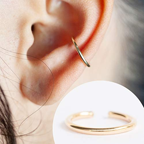 16 Gauge Ear Cuff - For Pierced or Non Pierced - Ear Conch Piercing Smooth Design 14K Gold Filled 16g 10MM
