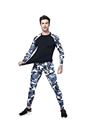 Jomago Men Compression Baselayer Set,Cool Dry Long Sleeve Shirt&Pants for Fitness