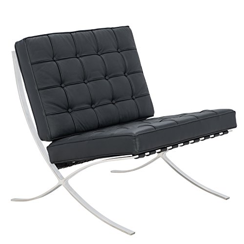 LeisureMod Bellefonte Style Modern Leather Pavilion Chair, Black