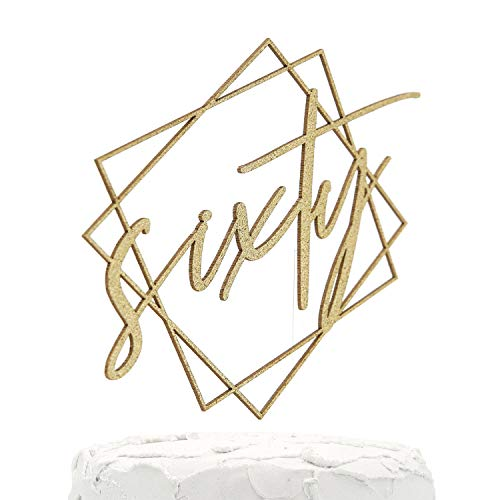 NANASUKO 60th Birthday Cake Topper - sixty - with Modern Geometric Frame - Double Sided Gold Glitter - Premium Quality Made in USA