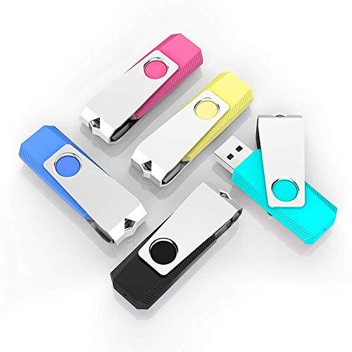 (TOPESEL 5 Pack 2GB USB Flash Drives Thumb Drives Memory Stick USB 2.0(5 Colors: Black Blue Cyan Pink Yellow))