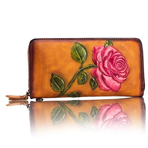 Genuine cow leather with flower effect embossed wallet purse bag card wallet bag hand painted designer wallet purses for women girls gift box pack B07QNN3VW1