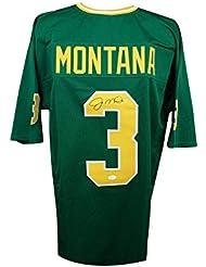 Joe Montana Autographed Notre Dame Custom Green Football Jersey - JSA COA