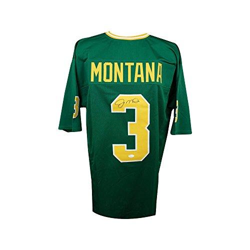 3d031aebd Joe Montana Autographed Notre Dame Custom Green Football Jersey - JSA COA