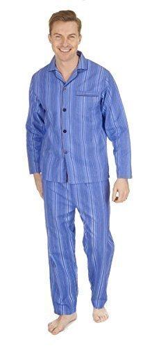 Hombre Térmico 100% algodón franela set Pijama ~ M A 5xg - Azul Raya, X