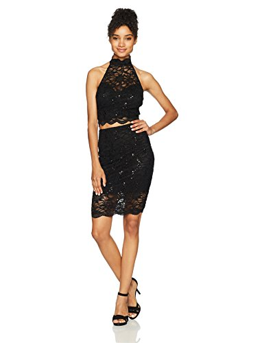 Bee Darlin Junior's Two-Piece Set Halter Neck Body Con Lace Dress, Black/Black/Black, 7/8