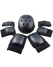 FUCNEN Scooter Beschermende uitrusting met knieelleboogbeschermers Polsbeschermers Helm voor Kinderen/Tieners/Volwassenen Veiligheidsuitrusting voor Scooter/Rolschaatsen/skateboard/Hoverboard/Rollerblade Helm en Pads Set