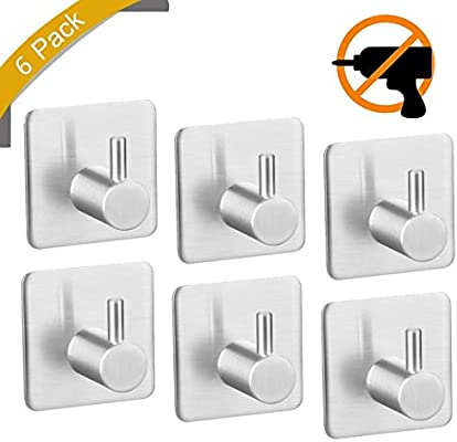 Self Adhesive Hook Stainless Steel Hooks Hat Towel self Adhesive Hooks Strong Robe Coat Stick-up Stainless Steel Hanger for Kitchen Bathrooms Lavatory Closets Water and Rust Proof 2 Hooks