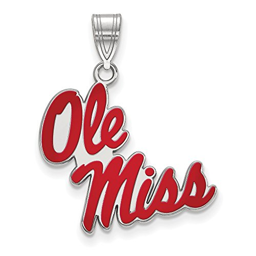 925 Sterling Silver Officially Licensed University College of Mississippi Large Enamel Pendant (27 mm x 20 mm) by Mia Diamonds and Co.