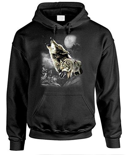 WOLF WILDERNESS - native american indian Pullover Hoodie, M, Black