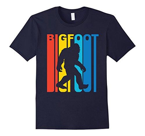 Men's Vintage Retro 1970s Style Rainbow Bigfoot Silhouette T-Shirt XL Navy (70s Men Clothes)