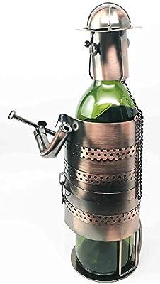 Fireman Fire Fighter Duty Hand Made Metal Copper Finish Wine Bottle Holder Caddy