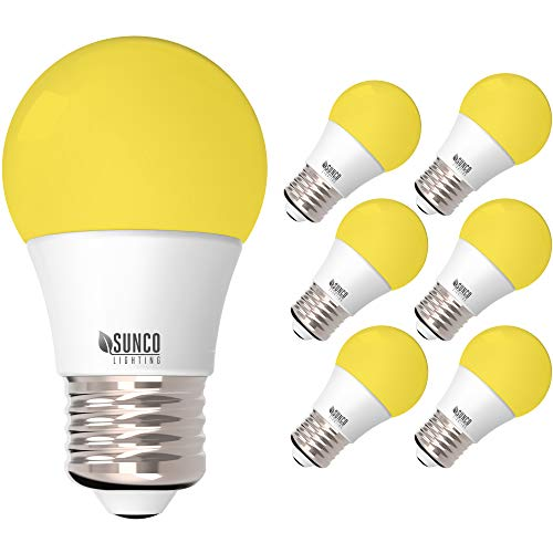 Sunco Lighting A15 LED Bulb, Yellow Bug Light, 8W, Bug Repellent/Bug Free, 2000K Amber Glow, Ideal for Outdoor Patio, Deck, Backyard, Porch, String Lights - 6 Pack - - Amazon.com