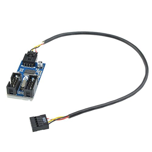 motherboard 9pin usb header to 2 male extension cable card 9