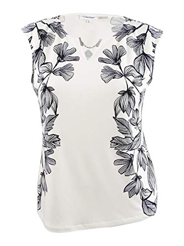 Calvin Klein Women's Printed Sleeveless Top with Chain Detail Soft White/Black Multi 2 Large