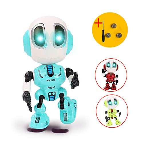 TTOUADY Talking Robots for Kids, Mini Robot Toys That Repeats What You Say with Colorful Flashing Lights to Help Toddlers Talking, Toys for 3,4,5,6+ Years Old Boys and Girls Gift (Blue) -