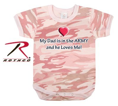 Rothco Baby Pink Camo My Dad Is In the Army One Piece Bodysuit, 4T