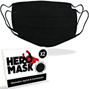 Pack of 2 Black Reusable Face Mask UK from Hero Mask | 3 Layers of Blended Cotton | Reusable Black Face Mask | Made in…