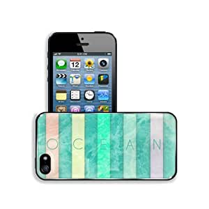 Abstract Blue Ocean Text Artwork Lines Apple iPhone 5 / 5S Snap Cover Premium Aluminium Design Back Plate Case Customized Made to Order Support Ready 5 inch (126mm) x 2 3/8 inch (61mm) x 3/8 inch (10mm) MSD iPhone_5 5S Professional Metal Case Touch Access