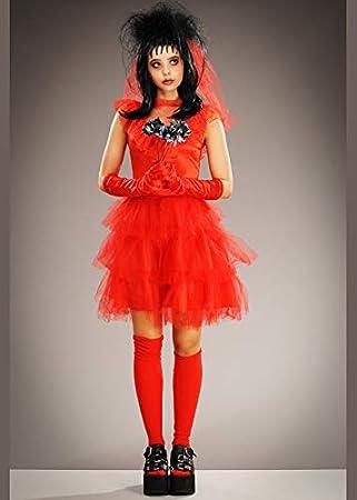 Magic Box Disfraz de Lydia Red Bride para Mujer Beetlejuice Style ...