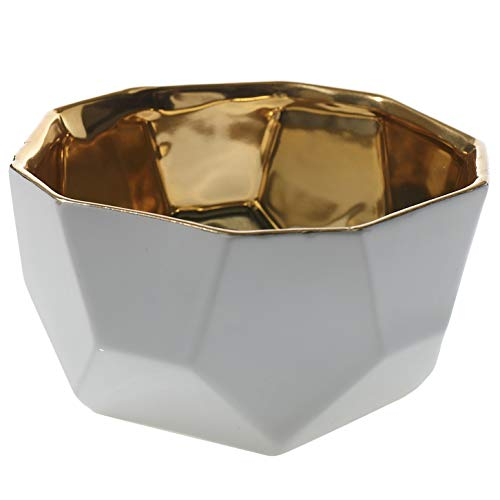 White and Gold Geometric Decorative Bowl - 5.5 x 3 Inches - Plush Collection Ceramic Reflective Pot - Modern Accent for Home, Business, or Office