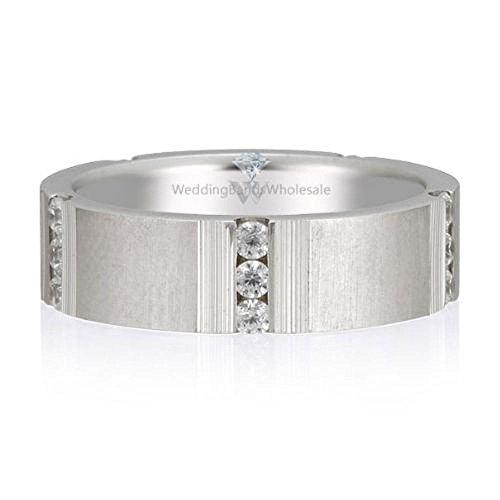 6 Mm Platinum Diamond (950 Platinum 6mm Diamond Wedding Bands Rings Row Style 0.45ctw. - Size 13.5)