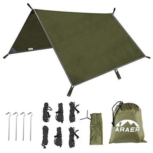 Camping Tent Tarps, ARAER Waterproof Blanket Cover Ripstop Hammock Rainfly Sunshade Shelter for Outdoor Travelling Hiking Picnic 10 x 10 FT – Army Green