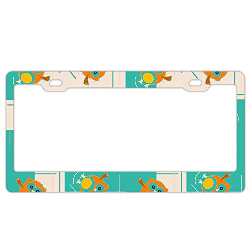 Zogpemsy Orange Owl Pattern for Kids License Plate Frames 2 Hole Kit Fits All US License