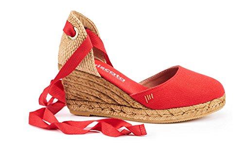 Espadrilles Spagna Viscata morbido 5 chiusa ankle in Red tallone Made Punta 2 tie Sagaro nbsp;cuneo Classic RxR6vwBq