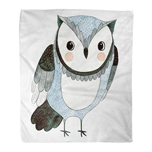 - Emvency Throw Blanket Warm Cozy Print Flannel Colorful Pattern Watercolor Funny Kids Owl Animal Drawing Bird Painting Cartoon Comfortable Soft for Bed Sofa and Couch 60x80 Inches
