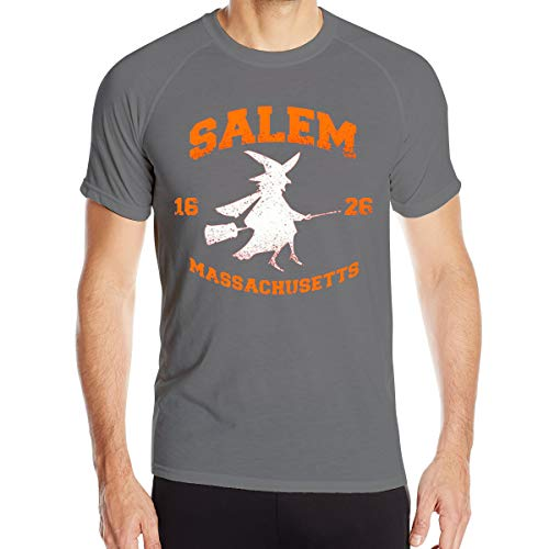 Salem Witch College Halloween Men¡¯s Dry-Fit Moisture Wicking Active Athletic Performance Crew T-Shirt Deep Heather L -